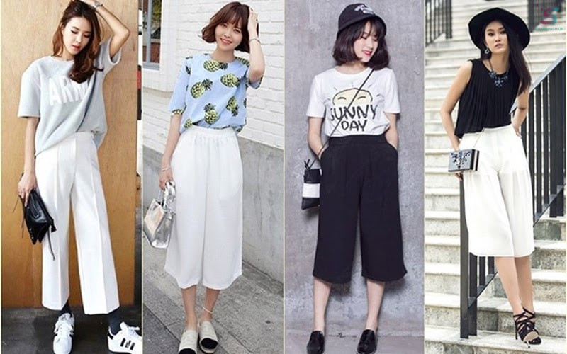 Studen fashion mix Culotte pants with T-shirts